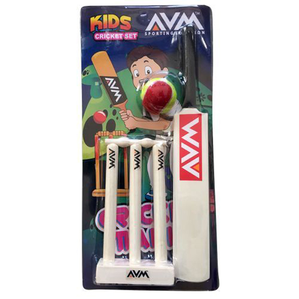 AVM Kids Cricket Set (Pack of 3 Pcs with Base)